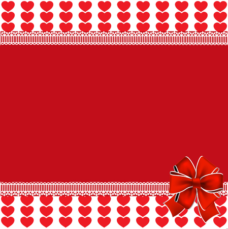 Festive vector template with space for text on red and white background with red hearts stripes framed with lace and festive bow. Love border, Valentines day or wedding background, frame, poster, banner.