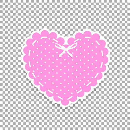 Rose and white paper cut lacy heart sticker with ribbon and polka dots pattern. Heart stamp for baby girl shower, Valentines day or wedding scrapbook design on transparent background vector clip art.