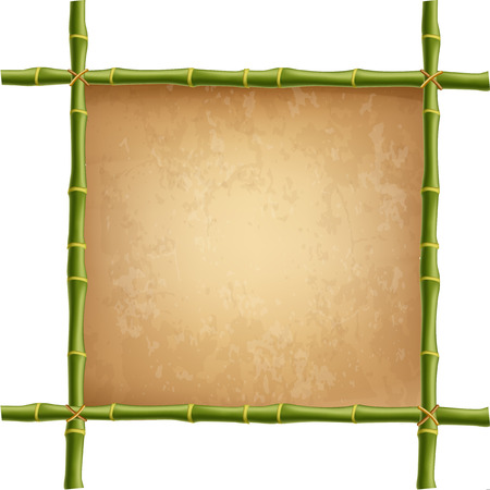 Creative vector illustration of bamboo stems frame isolated on white background. Art design blank mock-up template rope, paper, canvas. Abstract concept tropical signboard. Empty place for text.