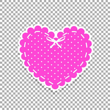 Pink and white paper cut lacing heart sticker with ribbon and polka dots pattern isolated on transparent. Stamp for baby girl, Valentines day or wedding scrapbook design vector illustration, clip art.
