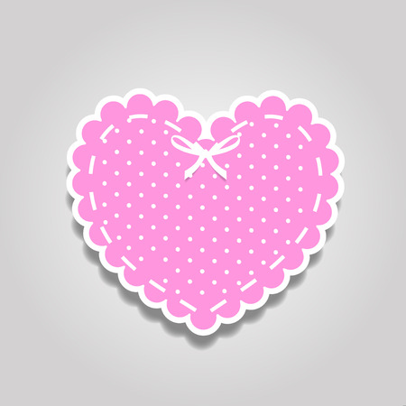Rose and white paper cut lacy heart sticker with ribbon and polka dots pattern. Heart stamp for baby girl shower, Valentines day or wedding scrapbook design isolated on white background vector clip art.