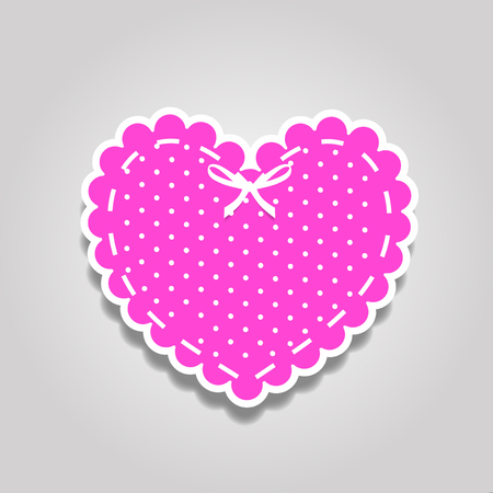 Pink and white paper cut lacy heart sticker with bow and polka dots pattern isolated on white background. Stamp for baby girl,  valentines or wedding scrapbook design. Vector illustration, clip art.