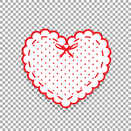 Cute white lacy heart with red polka dots pattern and ribbon isolated on transparent background. Scrapbook design element Valentine's day or love wedding sticker, clip art, detail for greeting card. 矢量图像