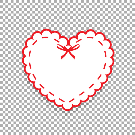 White paper cut heart sticker with white lacing, ribbon and copy space. Heart stamp for baby, Valentines day or love wedding scrapbooking design isolated on transparent background vector icon, clip art.