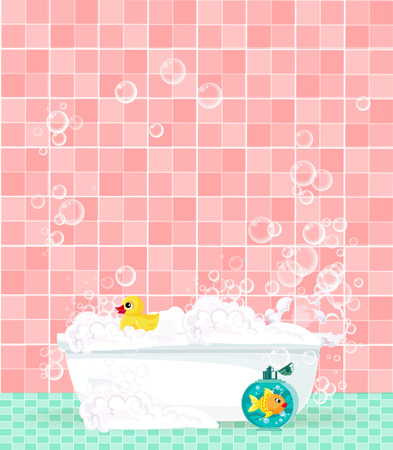 Cute cartoon bathroom interior with bathtub full of foam, soap bubbles, bottle of shampoo, rubber duck on pink tiled background. Comfortable equipment for bathing and relaxing. Vector illustration.