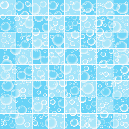 Cute baby cartoon wallpaper with floating bubbles on blue and white tiled bathroom background vector illustration, banner, poster, template, print for wrapping paper or fabric textile. Illustration