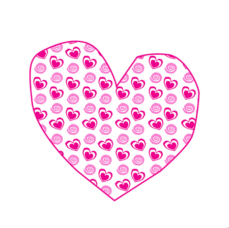 Cute big pink hand drawn heart sticker with little hearts pattern isolated on white background. Valentines day, or love wedding clip art, element, baby girl detail for scrapbooking design.