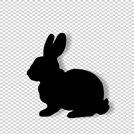 Black profile silhouette of fluffy rabbit, bunny or hare sitting isolated on transparent background. Vector illustration, icon, clip art.
