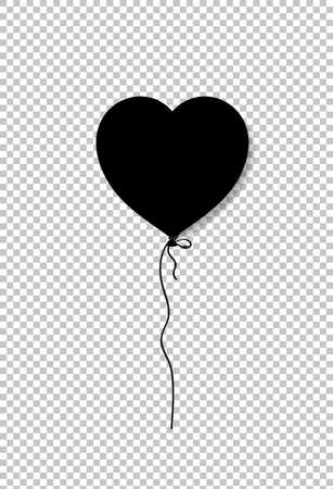 Black silhouette of heart shaped helium balloon isolated on transparent background. Vector illustration, icon, clip art, element for love festive design.