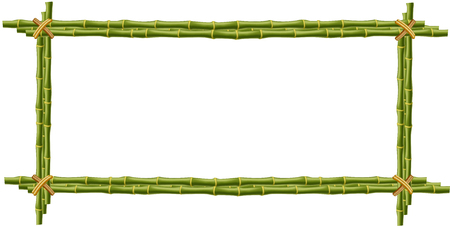 Wooden frame made of green bamboo sticks  bounded with rope and empty space for text or image. Vector mockup, clip art, border, template, photo frame isolated on white background.