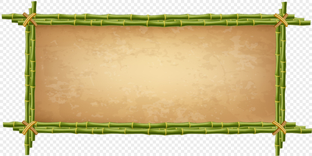 Creative vector illustration of bamboo stick border isolated on transparent background. Art design blank mockup template. Rope, paper, canvas. Abstract concept tropical signboard. Empty place for text