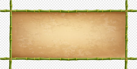 Wooden frame of green bamboo sticks with higly detailed vintage paper blank. Worn papyrus template, old grungy canvas with copy space. Vector illustration, border isolated on transparent background. Vettoriali