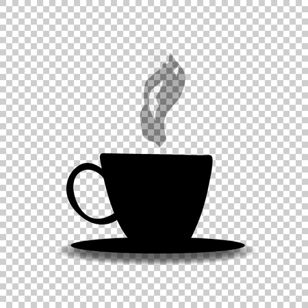 Black silhouette of tea or coffee cup with smoke isolated on transparent background. Vector illustration, icon, sign, symbol of hot beverage mug for card, invitation, menu, restaurant design.