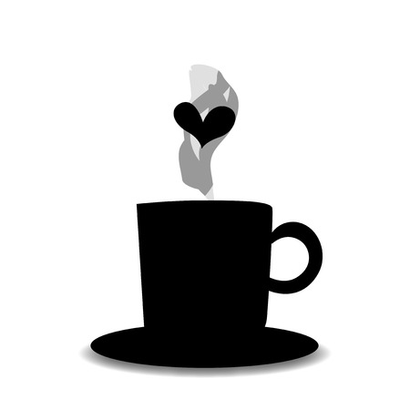 Black silhouette of tea or coffee cup with steam and heart isolated on white background. Vector illustration, icon, logo, sign, symbol of beverage mug for card, invitation, menu, restaurant design.