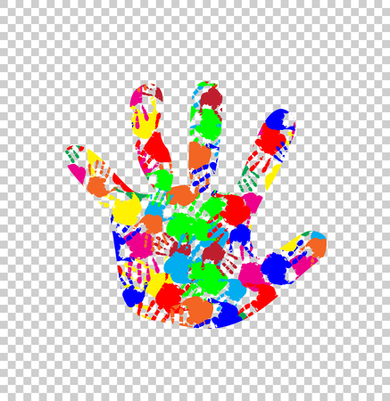 Rainbow multicolored silhouette of baby hand with colorful handprint pattern inside isolated on transparent background. Vector colorful illustration of open kid palm, icon, logo, sign, symbol, clipart