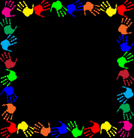 Bright rainbow frame with empty copy space for text or image and multicolored handprints border isolated on black background. Vector festive template, photo frame, mockup for invitation design.