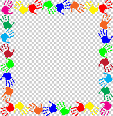 Bright rainbow frame with empty copy space for text or image and multicolored handprints border isolated on transparent background. Vector festive template, photo frame, mockup for invitation design.