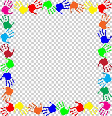 Marco de arco iris brillante con espacio de copia vacía para texto o imagen y borde de huellas de manos multicolores aislado sobre fondo transparente. Vector plantilla festiva, marco de fotos, maqueta para diseño de invitación.