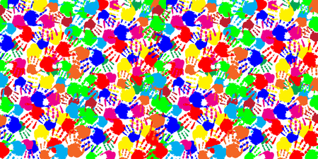 Bright abstract rainbow slapped background with multicolored humans hand prints on white backdrop. Vector festive palmprints rectangle template, poster, banner, mockup for design.