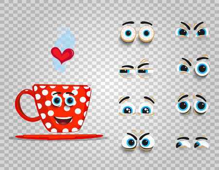Cute emoji set of red cup with changeable eyes collection.  Doodle steaming coffee mug with cartoon face and heart for creation character with different emotions. Vector love clip art for valentines. 向量圖像
