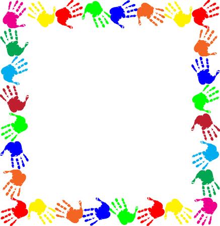 Marco de arco iris colorido trabajo con espacio de copia vacía para texto o imagen y borde de huellas de manos multicolores aislado sobre fondo blanco. Vector plantilla festiva, marco de fotos, maqueta para diseño de invitación. Ilustración de vector