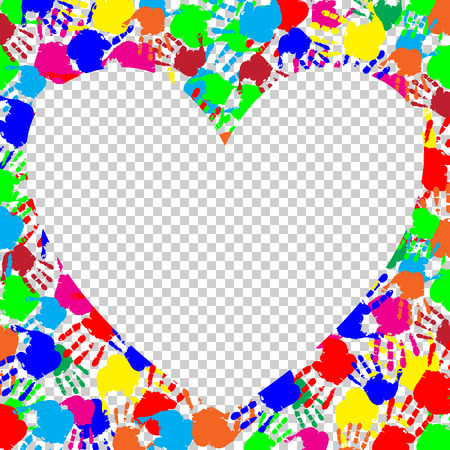 Bright rainbow heart frame with empty space for text or image and colored hand print border isolated on transparent background. Vector festive template for valentines day, love, holi photo, image. Illustration