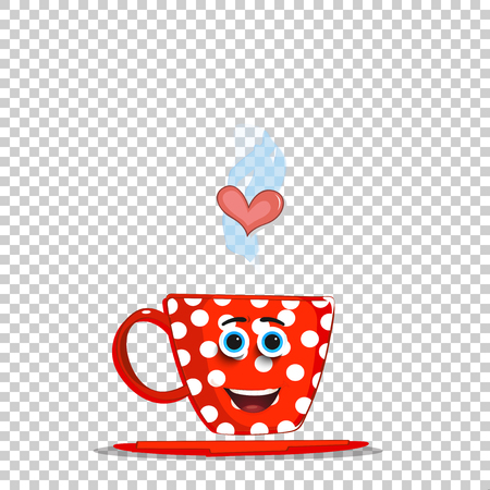 Cute steaming red cartoon cup with white polka dots pattern, smilling face and heart isolated on transparent background. Vector illustration, clip art for valentine's greeting card, invitation design