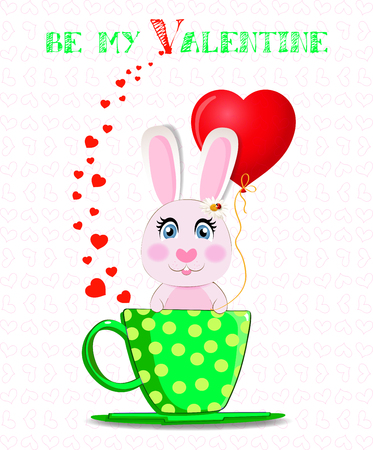 Be my Valentine greeting post card with cute cartoon bunny holding red heart balloon, sitting in green cup with yellow polka dots and hearts confetti around on white background. Vector illustration. Illustration