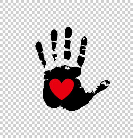 Black silhouette of humans hand print with heart symbol in open palm isolated on transparent background. Vector illustration, icon, logo, clip art. Red heart in black palm print. Illustration