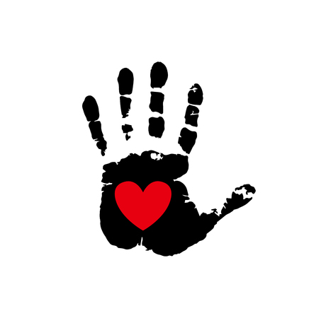 Black silhouette of humans handprint with heart symbol in open palm isolated on white background. Vector illustration, icon, logo, clip art. Red heart in black palmprint.