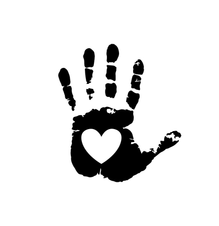 Black silhouette of human hand print with heart symbol in open palm isolated on white background. Vector monochrome illustration, icon, clip art. White heart in black palm print. Иллюстрация