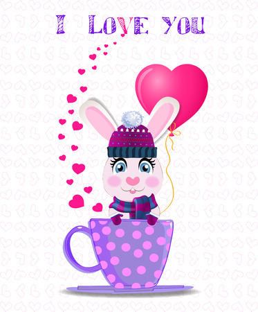 Greeting card with cute cartoon rabbit in violet knitted hat, scarf and mittens holding pink heart balloon, sitting in lilac cup with polka dots and text I love you. Vector valentines illustration. Illustration