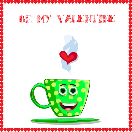 Be my valentine greeting card with cute cartoon coffee mug character with funny smiling face, heart in steam and elegant hearts frame on white background. Vector illustration. Vectores