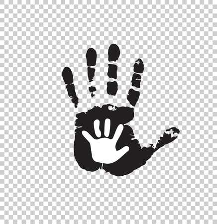 Black and white silhouette of adult and baby hand isolated on transparent background. Mother or father and child hand print. Big and little palms. Social illustration idea of growing up age transition. Illustration
