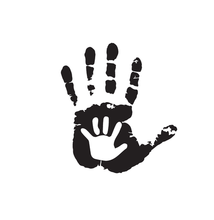 Black and white silhouette of adult and baby hands on white. Mother or father and child hand print. Palm of man and baby. Social illustration idea of the sign for the association of care, charity.