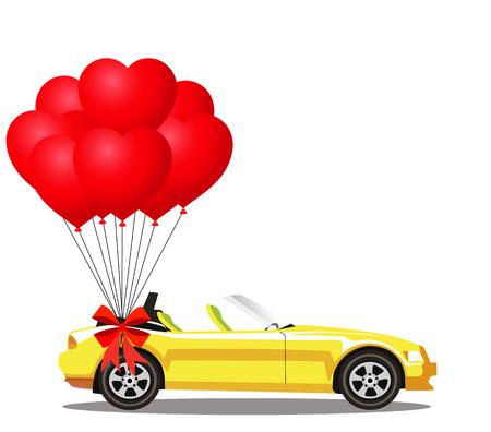Coche descapotable de dibujos animados moderno amarillo abierto con un montón de globos rojos en forma de corazón de helio con arco festivo aislado sobre fondo blanco. Coche deportivo sin techo. Ilustración vectorial Clipart.