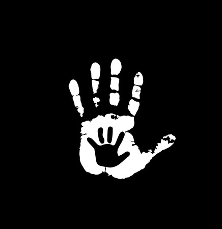 Black and white silhouette of adult and baby hands in heart. Mother or father and child hand print. Palm of woman and baby. Social vector illustration idea of sign for association of care, charity.