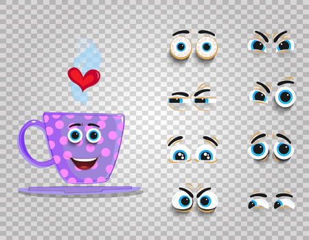 Cute emoji set of lilac cup with changeable eyes collection. Doodle steaming coffee mug with cartoon face and heart for creation character with different emotions. Vector love clip art for valentine's. Vectores
