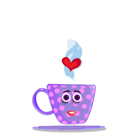 Cute violet cartoon cup with pink polka dots pattern, smiling face, rose lips, eyes and red heart in steam isolated on white background. Vector illustration, clip art for valentines or wedding.