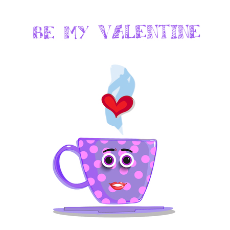Be my valentine greeting card with cute cartoon female cup character. Violet coffee mug with rose polka dots, smiling face, eyes, lips and heart in steam, fall in love. Vector illustration, invitation. Vectores