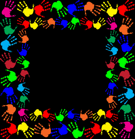 Bright rainbow frame with empty copy space for text or image and multicolored hand prints. Double border isolated on black background. Vector festive template, photo frame, mock-up for invitation design. Illustration