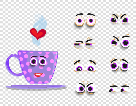 Cute emoji set of pink cup with changeable eyes collection. Doodle steaming coffee mug with cartoon girl face and heart for creation character with different emotions. Vector love valentines clip-art.