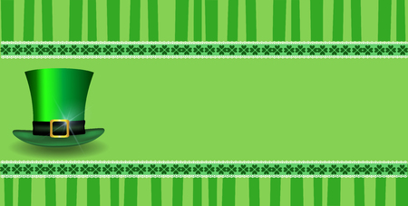 Saint Patricks Day template with clover festive lace leprechauns hat and copy space on green striped background. Vector border, frame for greeting card, invitation, banner, poster, flyer, signboard