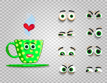 Cute emoji set of green cup with changeable eyes collection.  Doodle steaming coffee mug with cartoon girl face and for creation character with different emotions. Vector love clipart for valentines