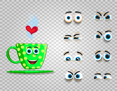 Cute emoji set of green cup with changeable eyes collection.  Doodle steaming coffee mug with cartoon face and heart for creation character with different emotions. Vector love clipart for valentines