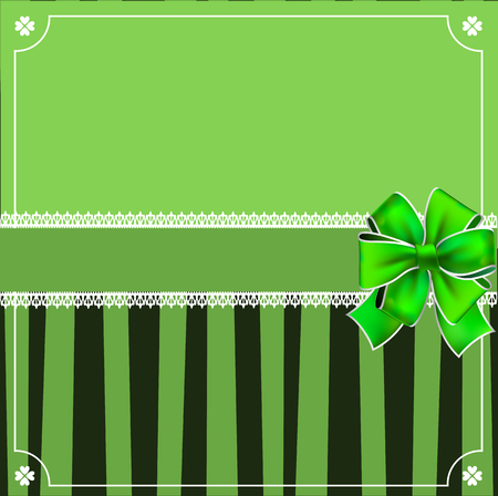 Saint Patricks Day elegant template with shamrocks lace, wrapped with festive bow and copy space on green black striped background. Vector border, frame for greeting card, invitation, menu, flyer.