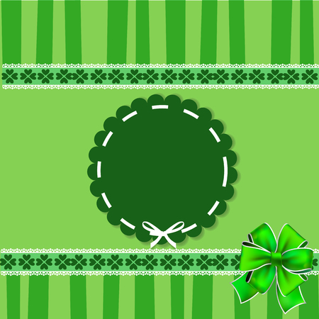 Saint Patricks Day elegant template with shamrocks lace, round wavy stamp with white ribbon, festive bow on green striped background. Vector illustration, border, frame for greeting card, invitation. Illustration