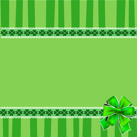Saint Patricks Day elegant template with shamrocks lace, festive bow and copy space on green striped background. Vector illustration, border, frame for greeting card, invitation, banner, poster, flyer Illustration