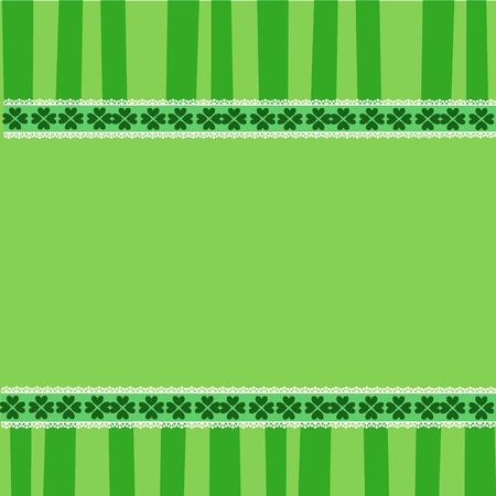 Saint Patricks Day elegant template with shamrocks festive lace, and copy space on green striped background. Vector illustration, border, frame for greeting card, invitation, banner, poster, flyer Illustration
