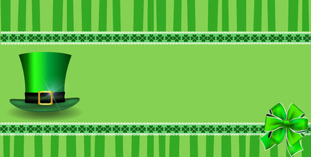 Saint Patricks Day template with clover festive lace, bow and leprechauns hat and copy space on green striped background. Vector border, frame for greeting card, invitation, banner, poster, billboard